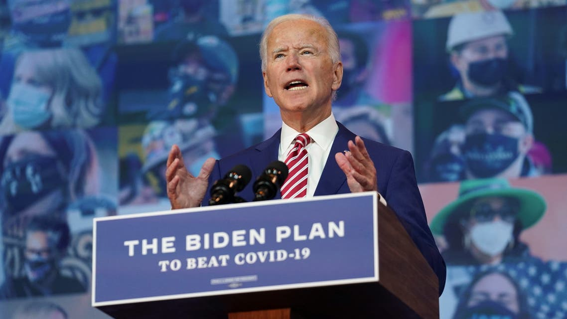 U.S. Democratic presidential candidate Joe Biden speaks about his plan to beat COVID-19 in Wilmington, Delaware, U.S., October 23, 2020. REUTERS/Kevin Lamarque