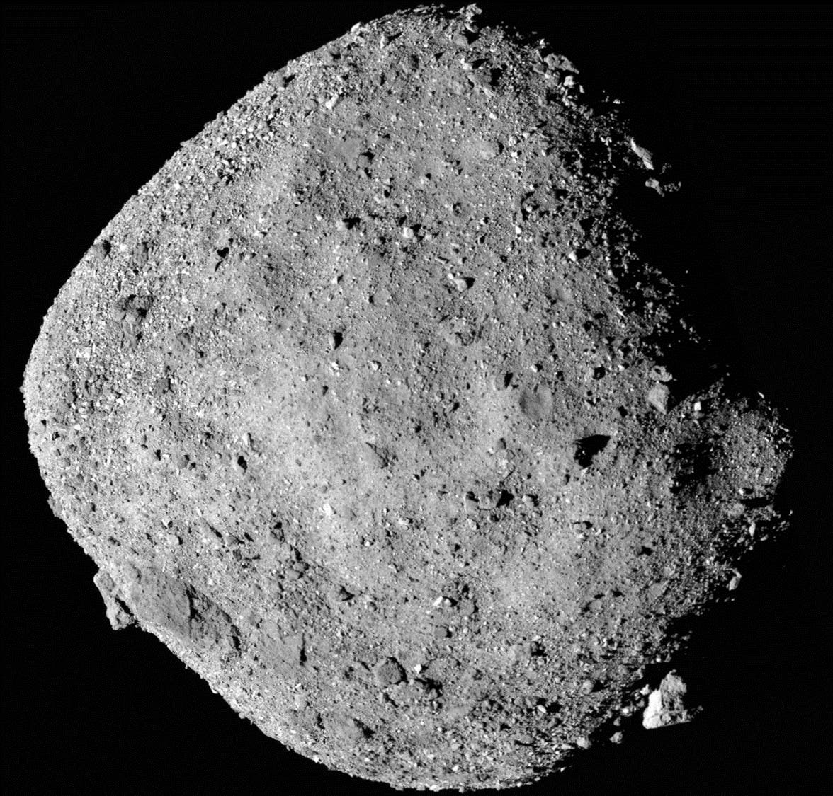 NASA handout of a mosaic image of asteroid Bennu composed of 12 PolyCam images. (Reuters)