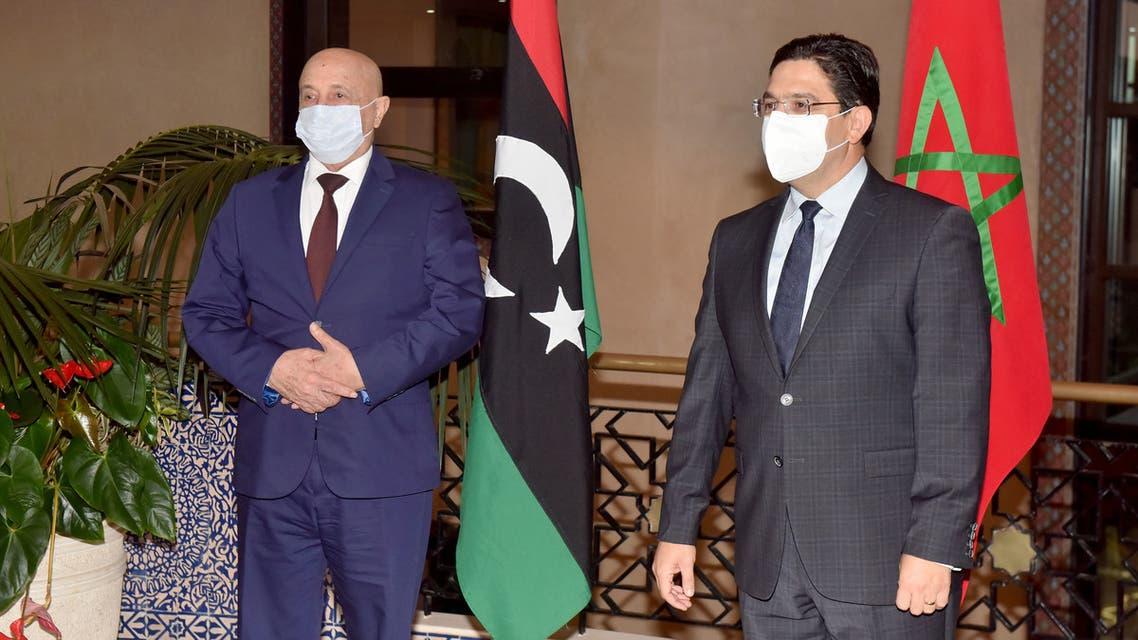 ناصر بوريطة وزير الخارجية المغربي يستقبل ويتباحث مع المستشار الليبي عقيلة صالح