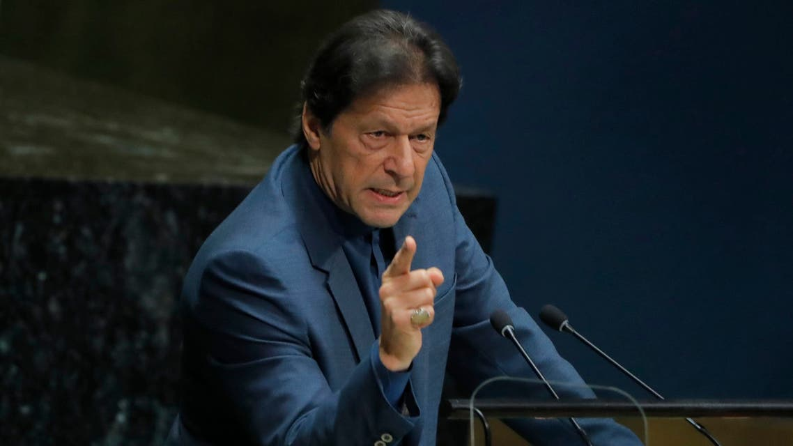 Imran Khan, Prime Minister of Pakistan addresses the 74th session of the United Nations General Assembly at U.N. headquarters in New York, U.S., September 27, 2019. (Reuters)