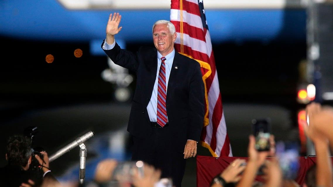 Vice President Mike Pence waves to supporters Saturday Oct. 24, 2020 in Tallahassee, Fla. (AP/Steve Cannon)