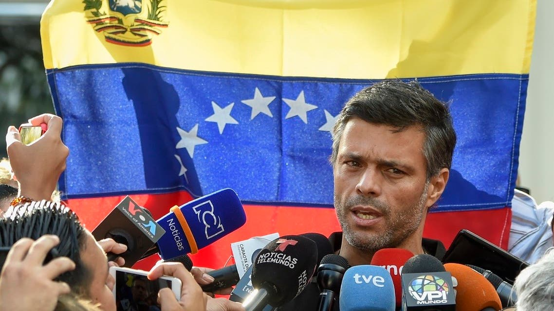 In this file photo taken on May 02, 2019, Venezuelan high-profile opposition politician Leopoldo Lopez speaks outside the Spanish embassy in Caracas, where he sought refuge. (Juan Barreto/AFP)