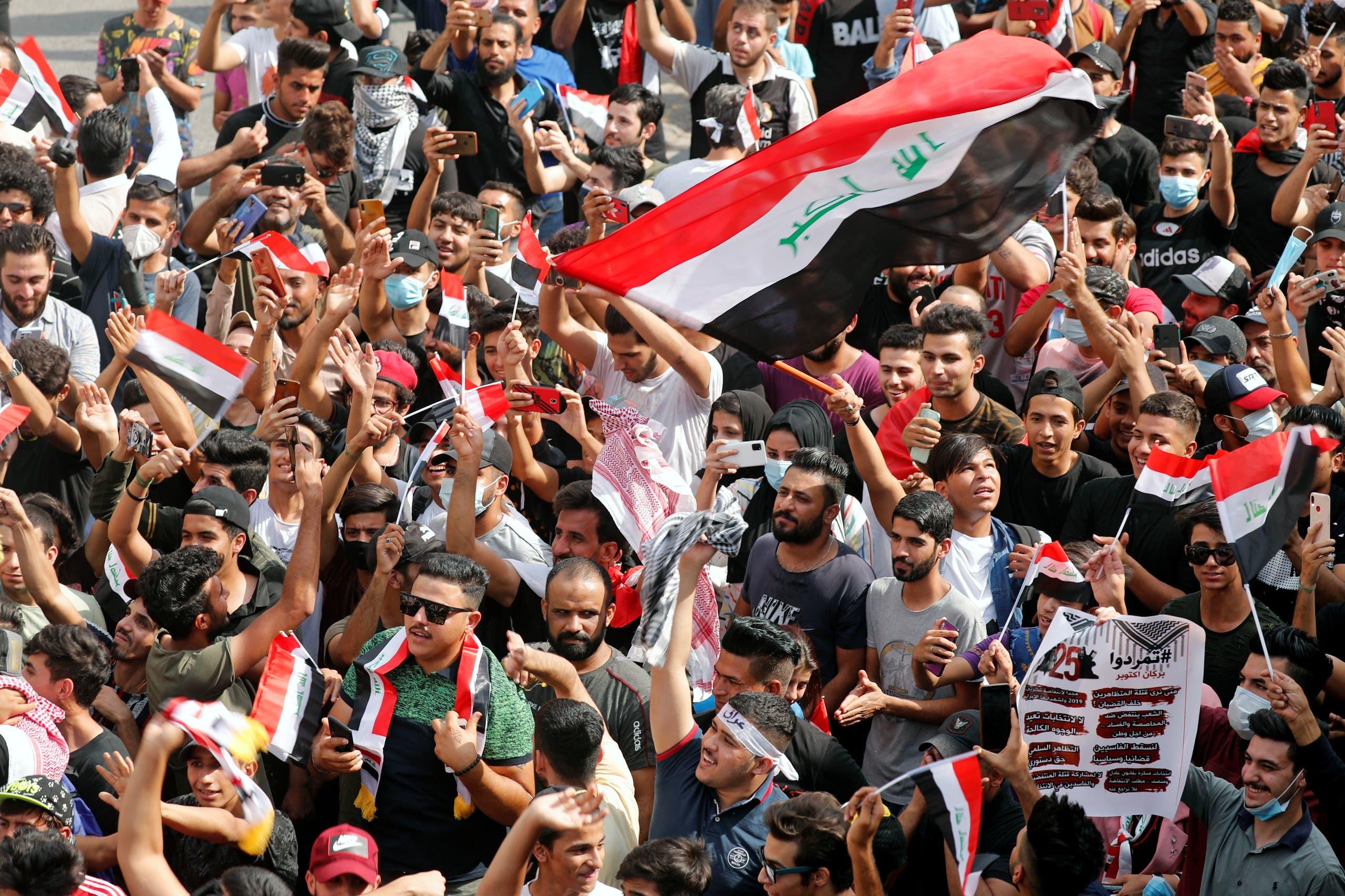 من تظاهرات بغداد اليوم(25 أكتوبر 2020 - رويترز)