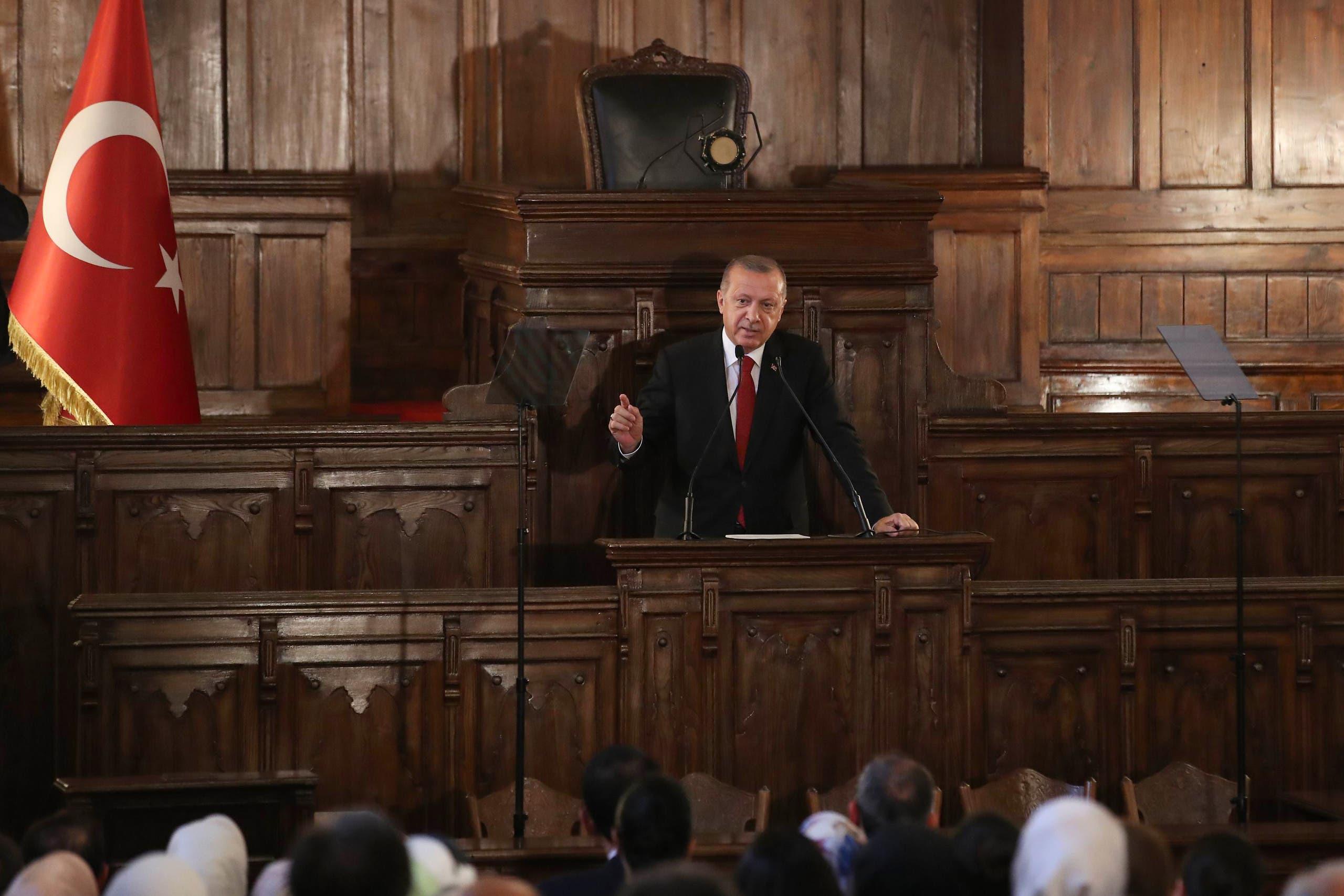 أردوغان تحت قبة البرلمان بعد انتخابه في يوليو 2018