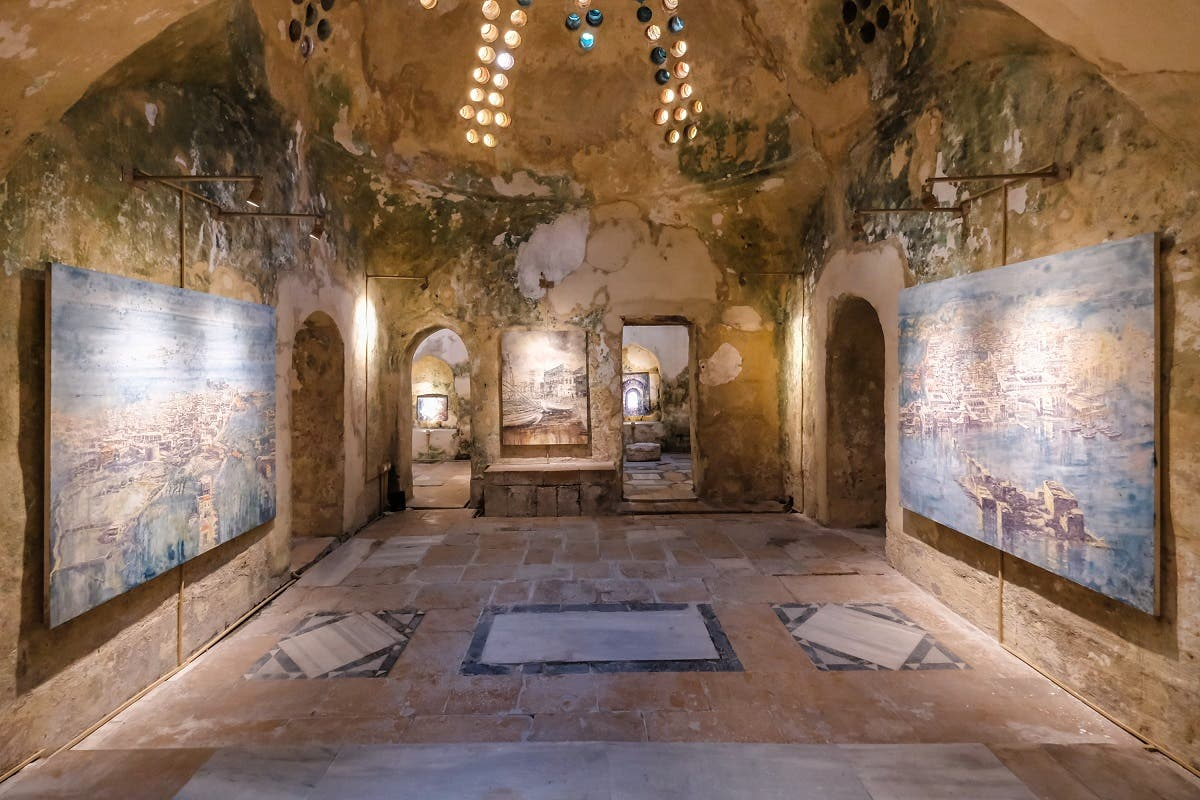 Photo shows the stars room of the 18th century Hammam Al-Jadeed bathhouse. (Karim Sakr)