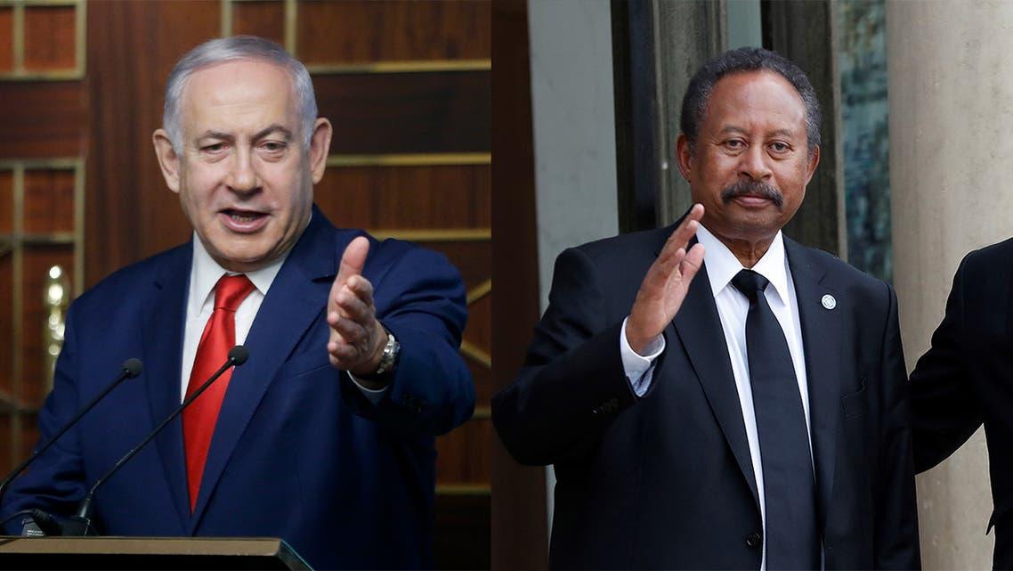 Israeli Prime Minister Benjamin Netanyahu, left, and Sudanese Prime Minister Abdalla Hamdok, right. (AP)