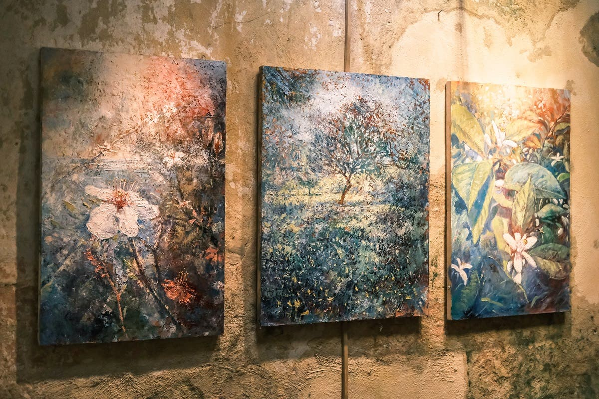A mother nature triptych shown at the 'REVIVAL' exhibition at the Hammam Al-Jadeed. (Karim Sakr)