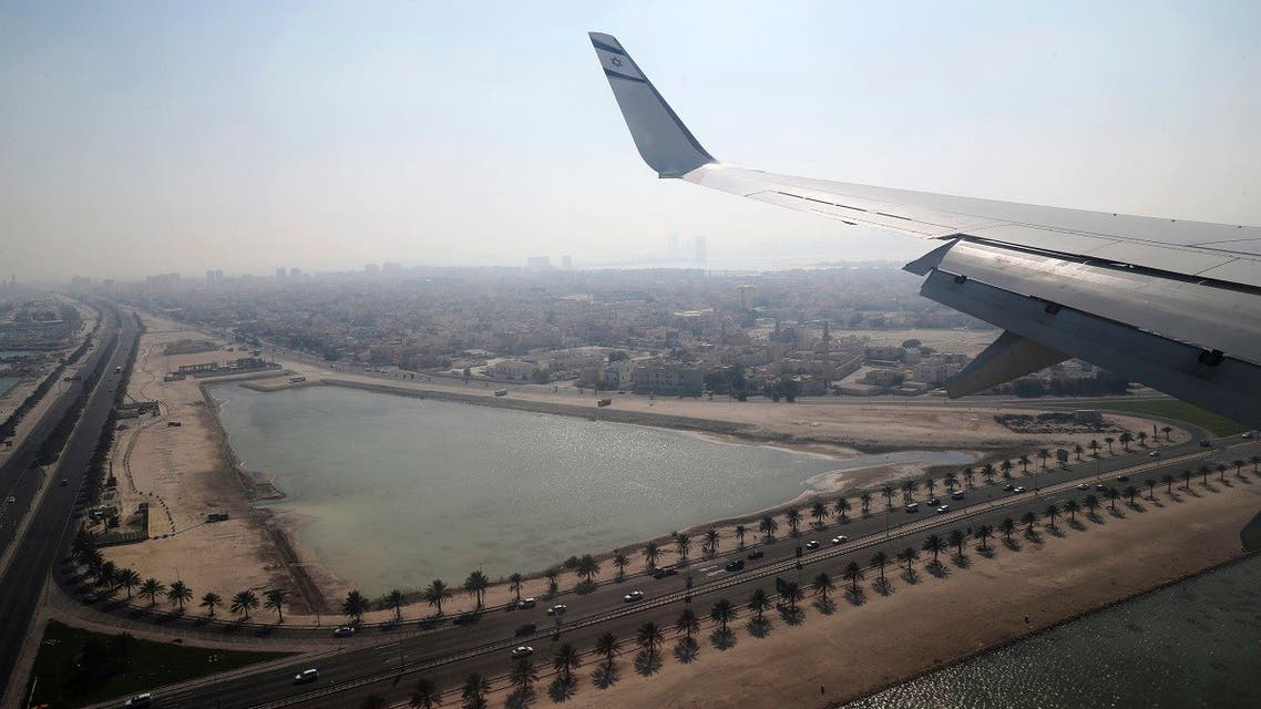 An Israeli flag carrier El Al airliner carrying a joint American-Israeli delegation prepares to land in Muharraq, Bahrain. (AP)