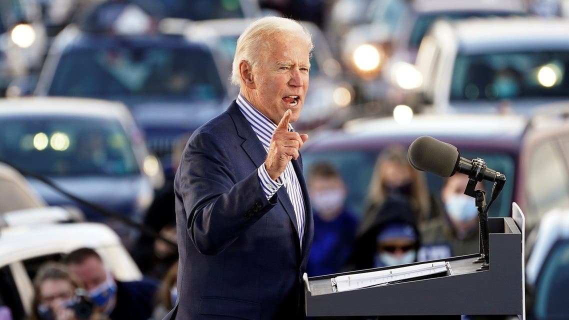US Democratic presidential candidate Joe Biden speaks during a drive-in campaign event at Dallas High School in Dallas, Pennsylvania, US, October 24, 2020. (Reuters/Kevin Lamarque)