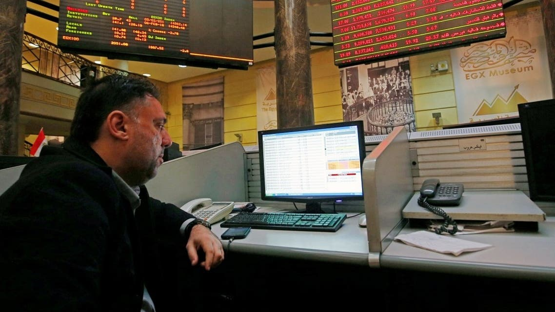 A file photo shows a trader works at the Egyptian stock market in Cairo, Egypt February 6, 2018. (Reuters/Amr Abdallah Dalsh)