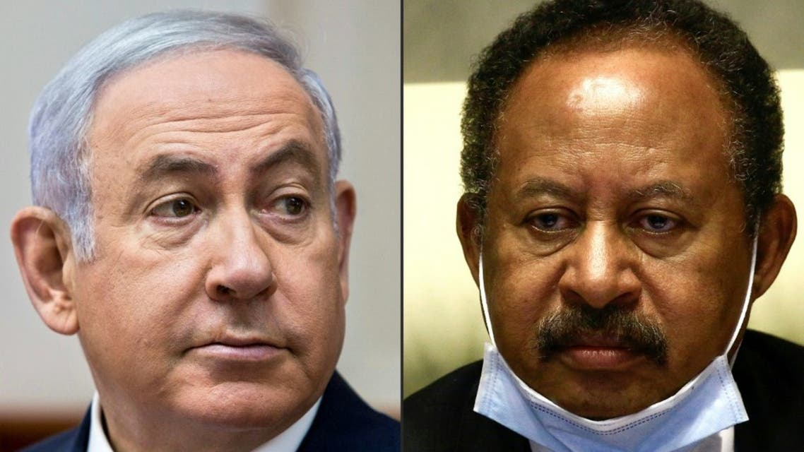 This combination of pictures created on October 24, 2020 shows (L to R) Israeli Prime Minister Benjamin Netanyahu and Sudan's Prime Minister Abdullah Hamduk. (AFP)