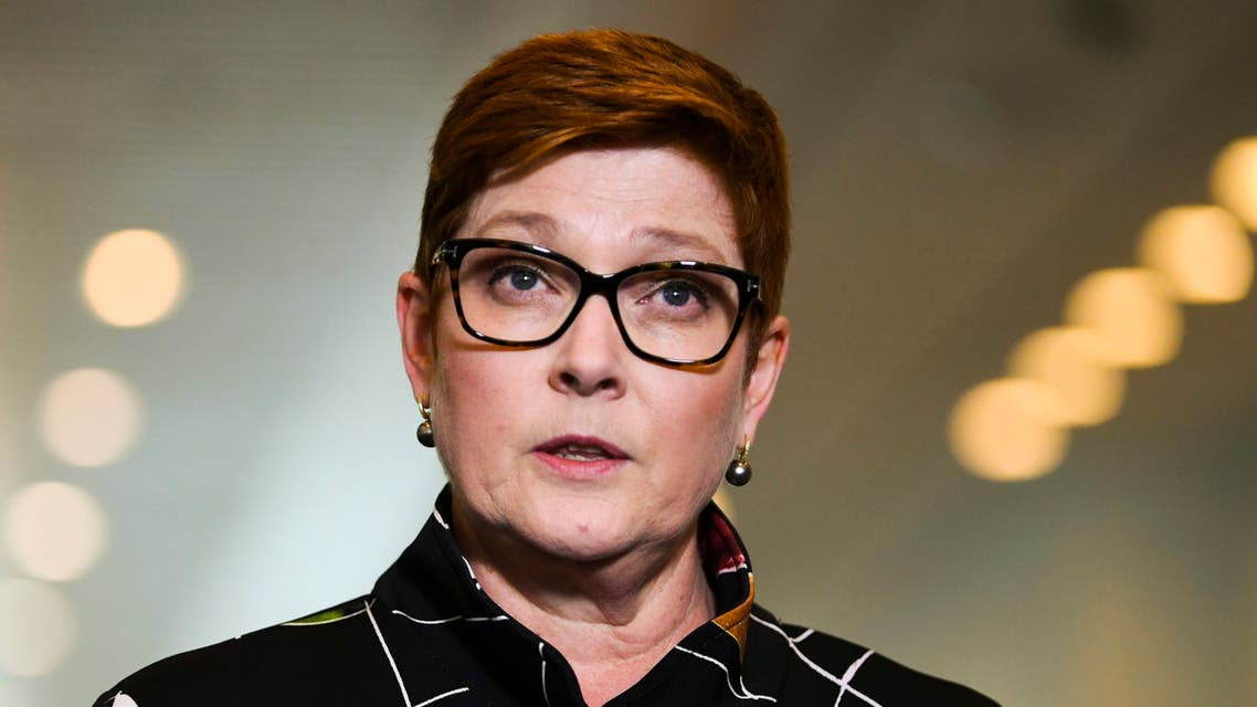 Australian Foreign Minister Marine Payne speaks during a press conference at Parliament House in Canberra, Monday, October 26, 2020. (AP)