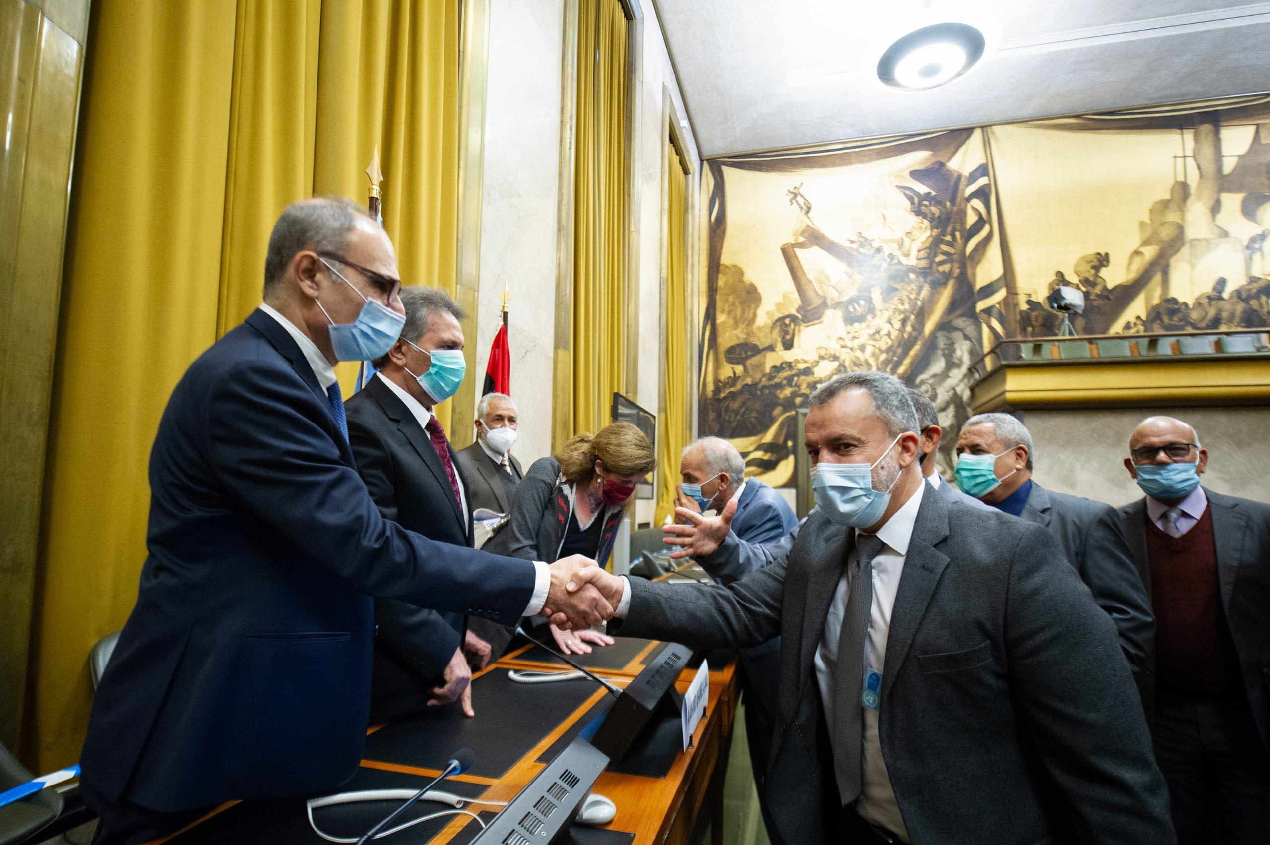 من اجتماعات 5+5 الليبية في جنيف (23 أكتوبر 2020- فرانس برس)