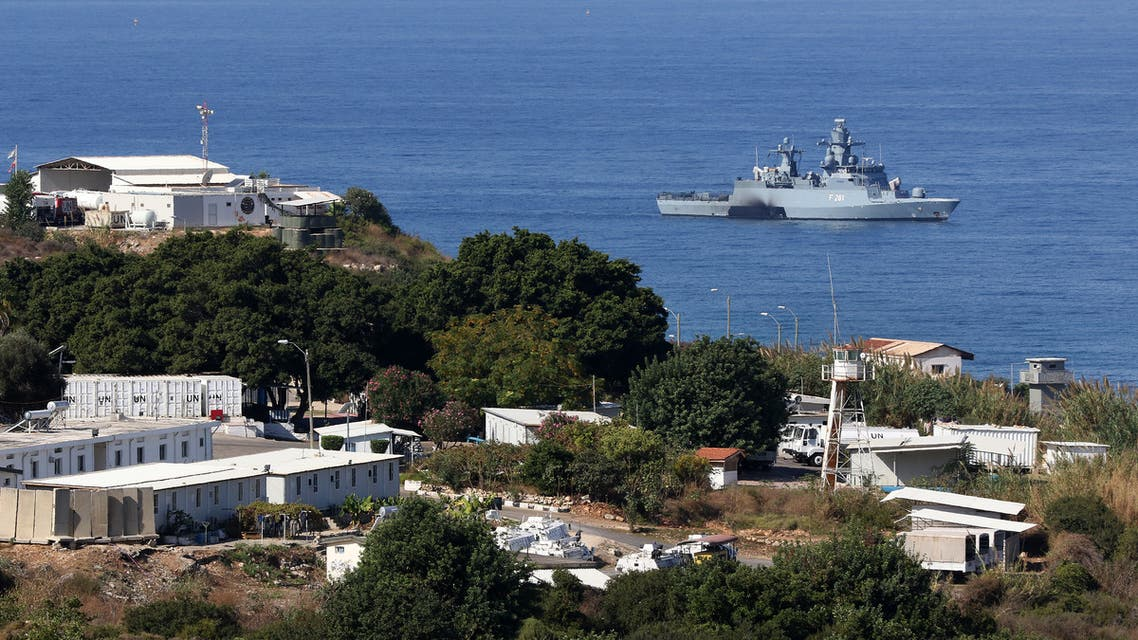 A United Nations ship is pictured in the southernmost area of Naqura, by the border with Israel, on October 14, 2020. Lebanon and Israel, still technically at war, began unprecedented talks sponsored by the United Nations and the United States today to settle a maritime border dispute and clear the way for oil and gas exploration.