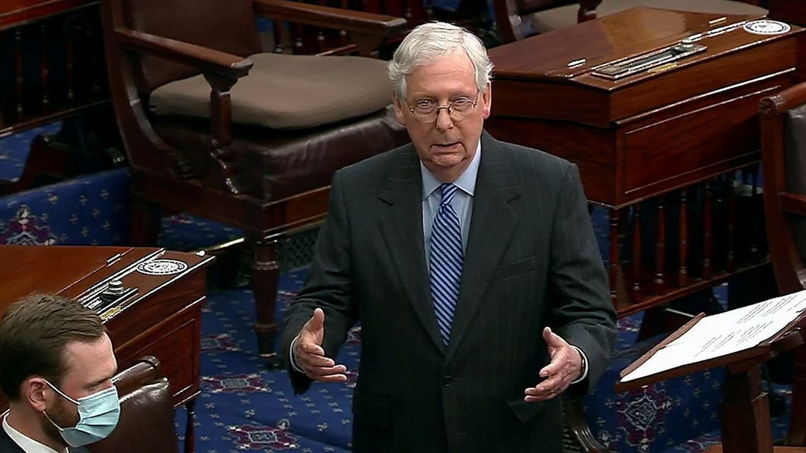 Senate Majority Leader Mitch McConnell speaks before the US Senate votes on the confirmation of Judge Amy Coney Barrett, Oct. 26, 2020. (Reuters)