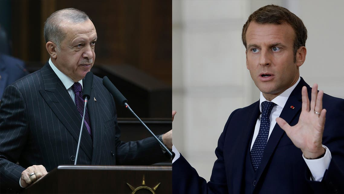 Turkish President Recep Tayyip Erdogan, left, and French President Emmanuel Macron, right. (AP)