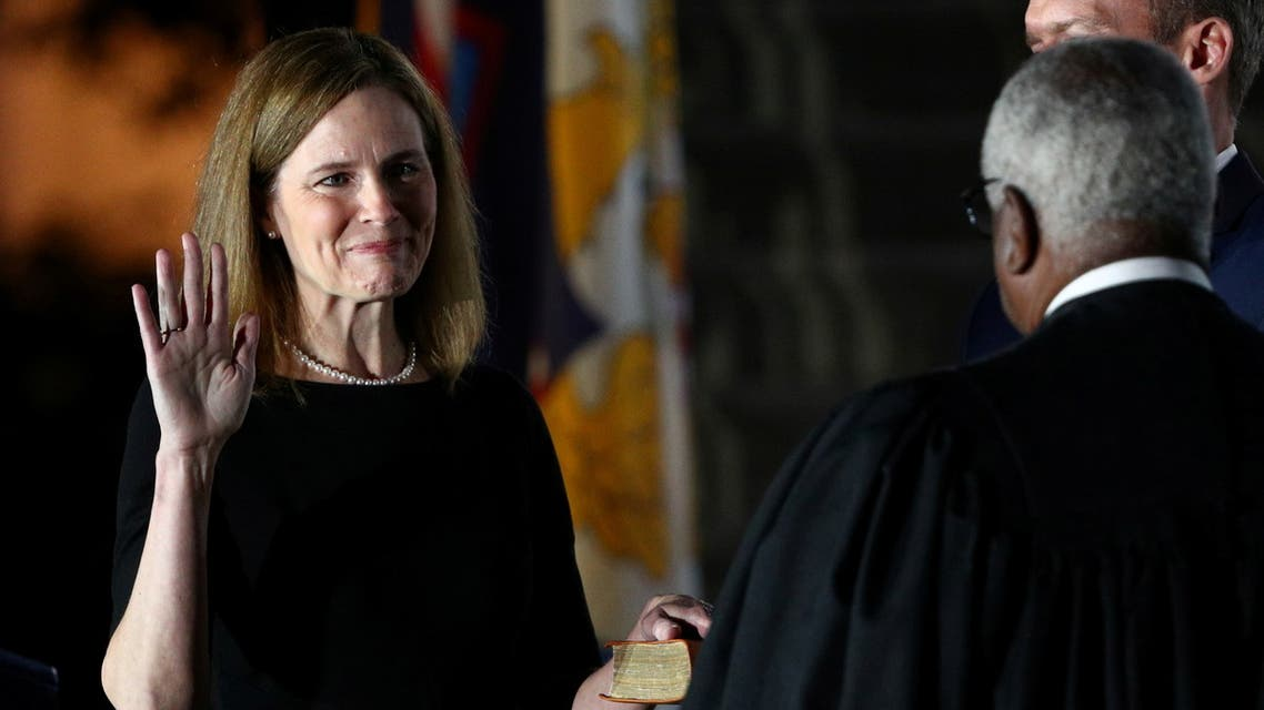 Judge Amy Coney is sworn in as an associate justice of the U.S. Supreme Court at the White House in Washington. (Reuters)