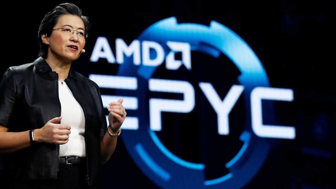 Lisa Su, president and CEO of AMD, talks about the AMD EPYC processor during a keynote address at the 2019 CES in Las Vegas, Nevada, US, on January 9, 2019. (Reuters)