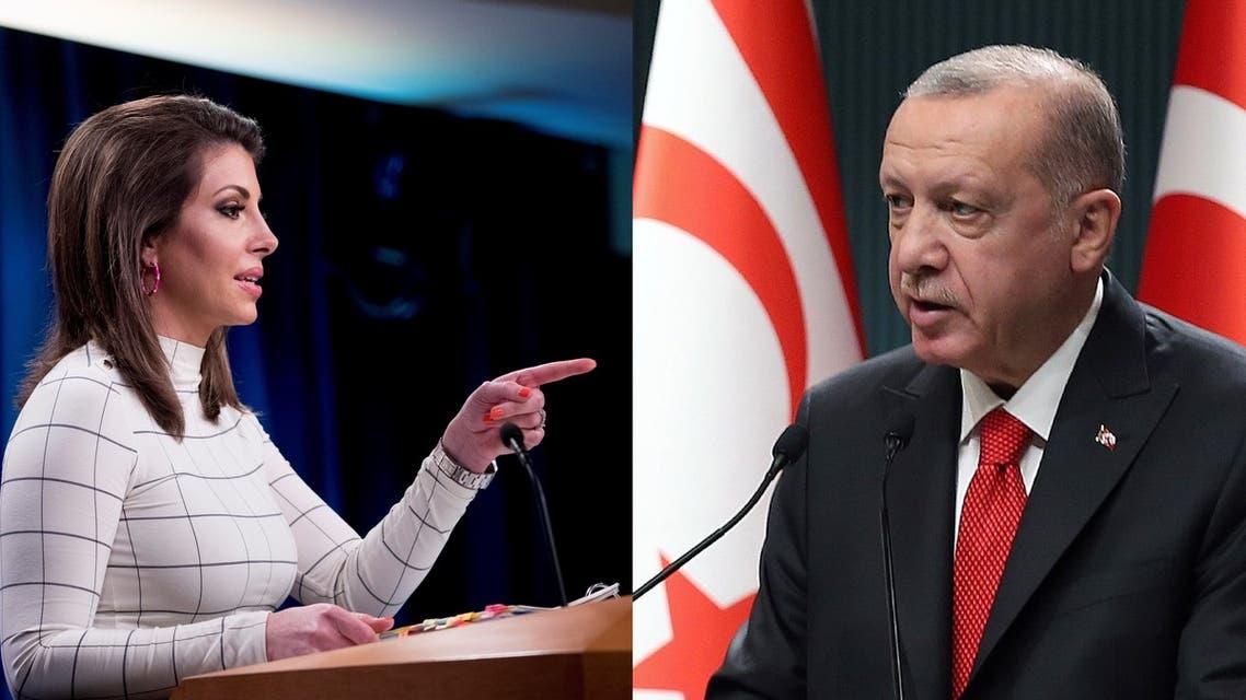 State Department Spokesman Morgan Ortagus, left, and Turkish President Recep Tayyip Erdogan, right. (AP)