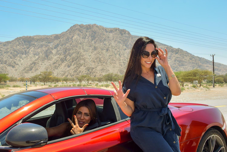 Founder of the Arabian Gazelles Super Cars Club Hanan Mazouzi Sobati, left, with Paravia in Ras al Khaimah. (Supplied)