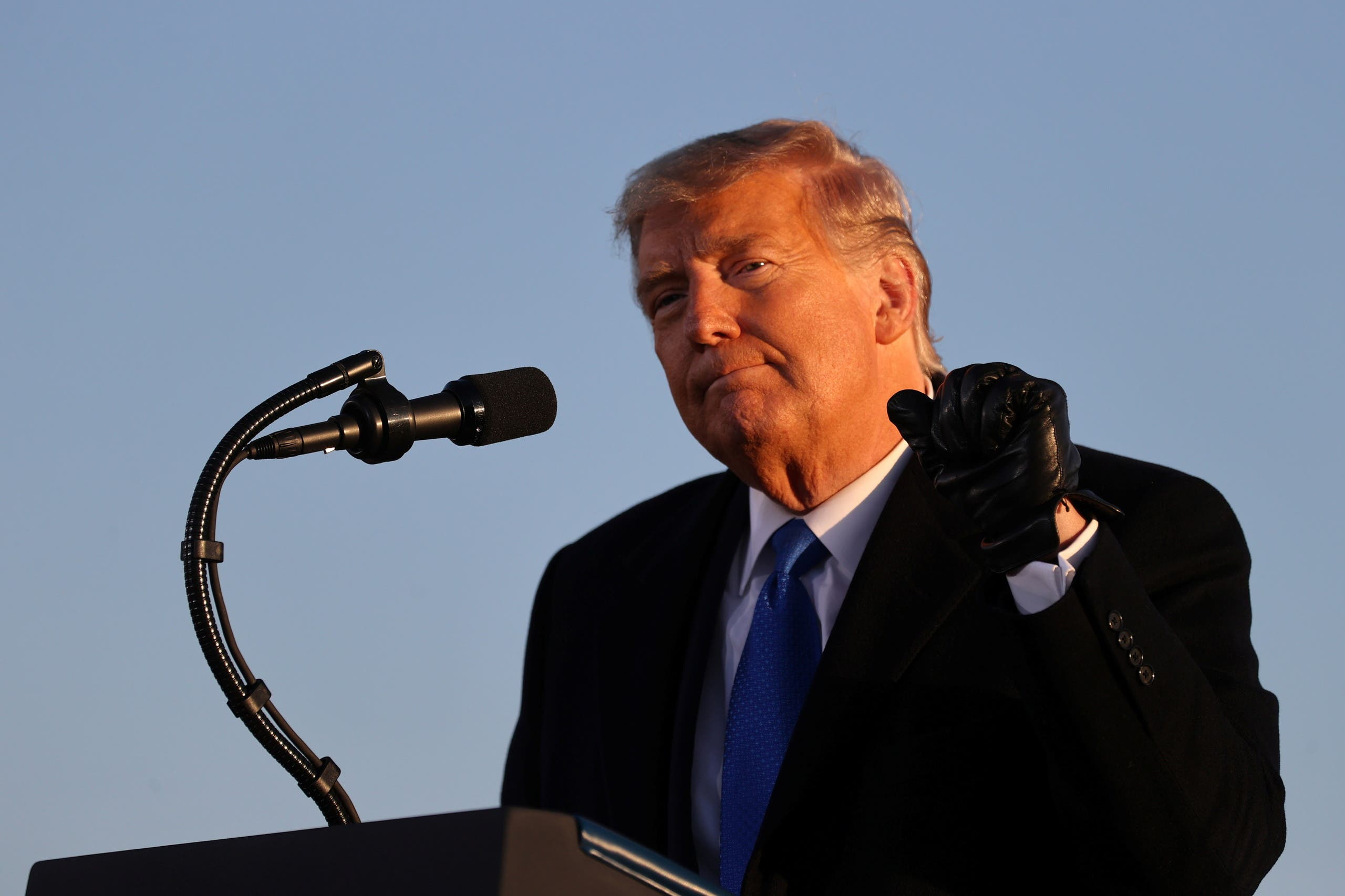 US President Donald Trump speaks during a campaign event in West Salem, Wisconsin, Oct. 27, 2020. (Reuters)