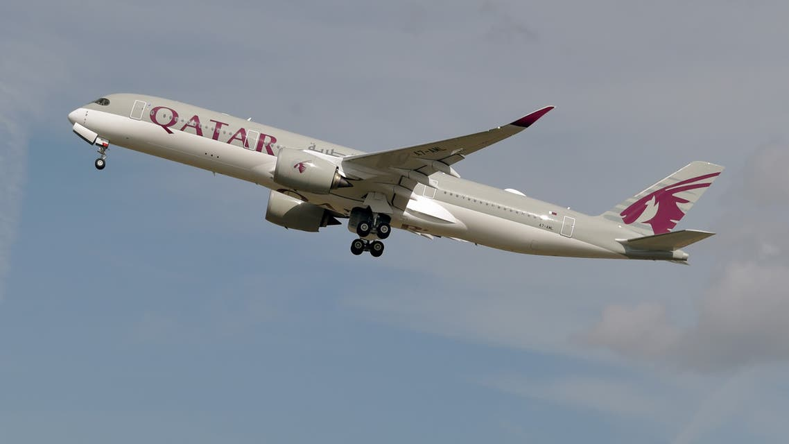 (FILES) This file photo taken on September 27, 2019 shows a Qatar Airways Airbus A350 aircraft taking off from Toulouse-Blagnac airport, near Toulouse. Revelations that passengers flying through Doha were forced to endure vaginal inspections have upended Qatar's efforts to boost its reputation before the Gulf state hosts World Cup 2022, experts say. Officers marched women off a Sydney-bound Qatar Airways flight earlier this month and forced them to undergo intimate examinations after a newborn baby was found abandoned in an airport bathroom.