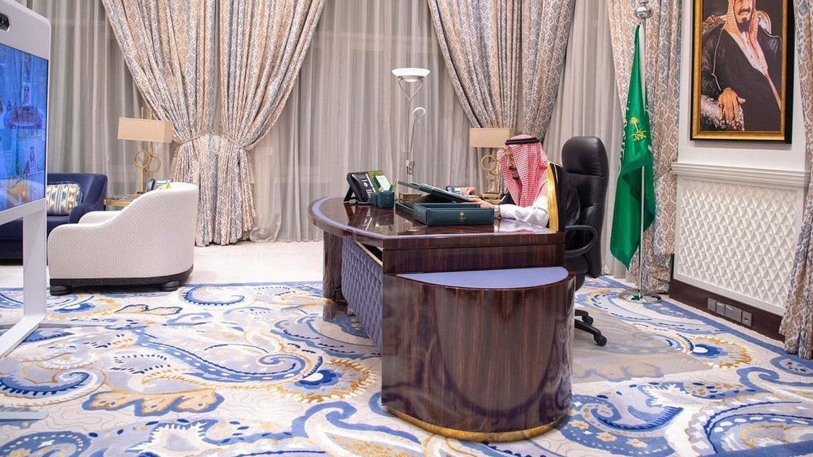 Saudi King Salman chairs a cabinet session virtually. (SPA)