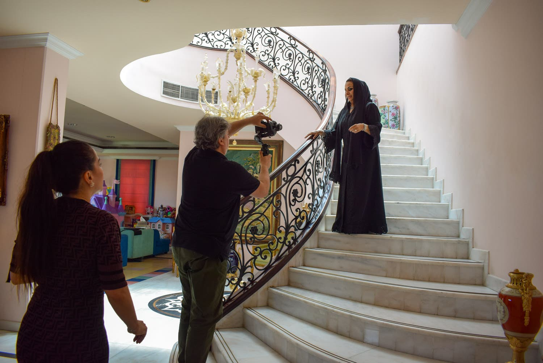 Dubai entreprenuer Thoraya Al Awadhi during the filming of 'Hi Emirates.' (Supplied)