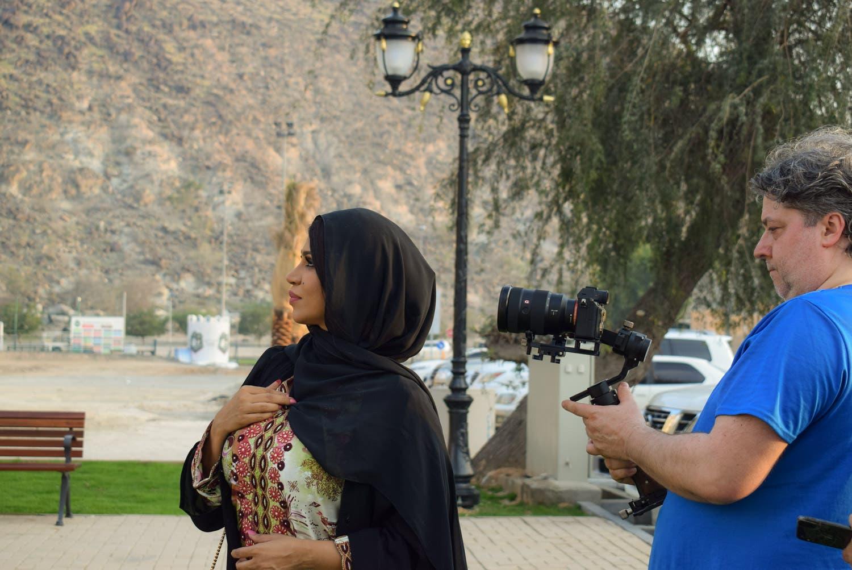 Emirati Instagram celebrity and influencer Meera Ali al Naqbi during filming. (Supplied)