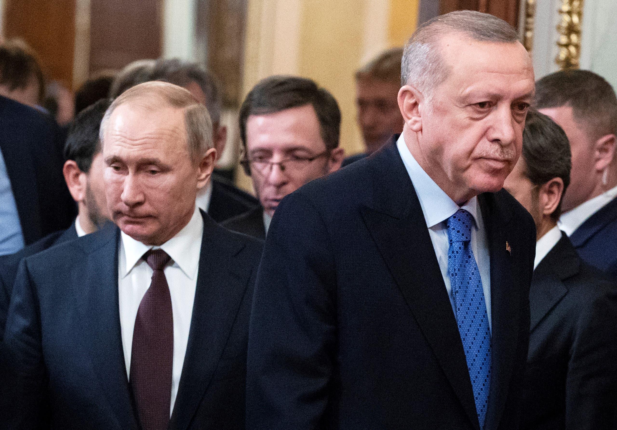 الرئيس التركي رجب طيب أردوغان ونظيره الروسي فلاديمير بوتين (أرشيفية- رويترز)
