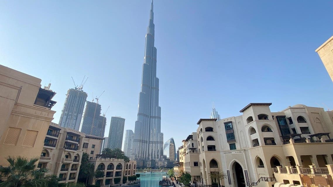 A general view shows the area outside the Burj Khalifa, in Dubai, March 25, 2020. (Reuters)