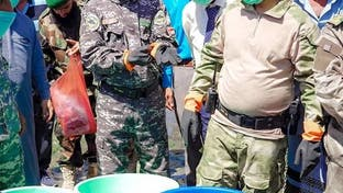 بدء إتلاف شحنة مخدرات كانت في طريقها للحوثيين في عدن