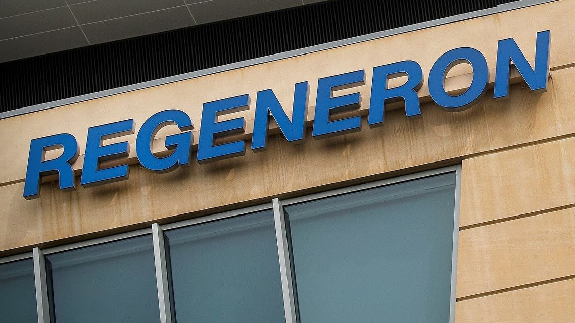 The Regeneron Pharmaceuticals company logo is seen on a building at the company's Westchester campus in Tarrytown, New York. (Reuters)
