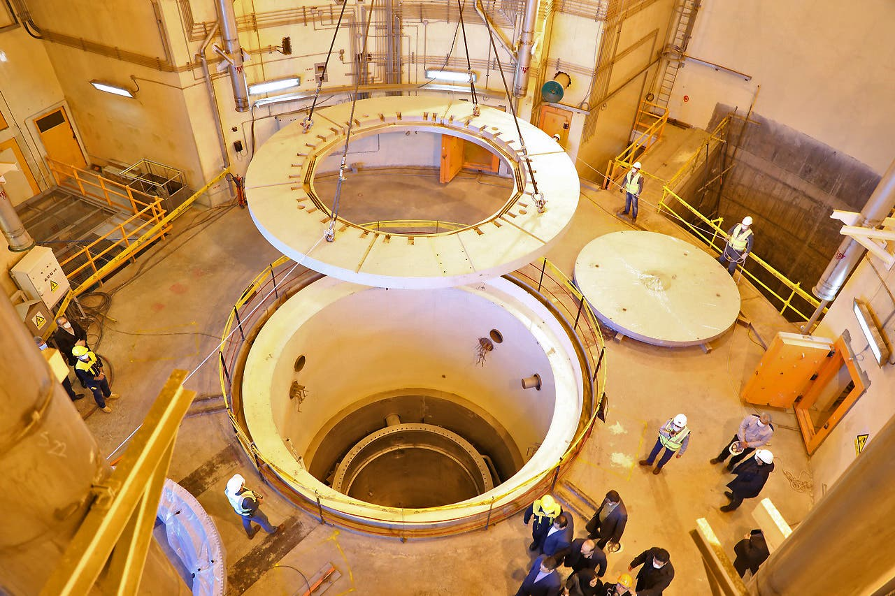 A handout picture released by Iran's Atomic Energy Organisation on December 23, 2019 shows the nuclear water reactor of Arak, south of capital Tehran, during a visit by the head of the organisation Ali Akbar Salehi (unseen). A secondary circuit for Iran's Arak heavy water reactor has become operational as part of its redesign under the 2015 nuclear deal, the country's atomic energy chief said today.