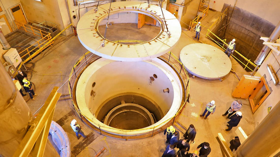 A handout picture released by Iran's Atomic Energy Organisation on December 23, 2019 shows the nuclear water reactor of Arak, south of capital Tehran, during a visit by the head of the organisation Ali Akbar Salehi (unseen).