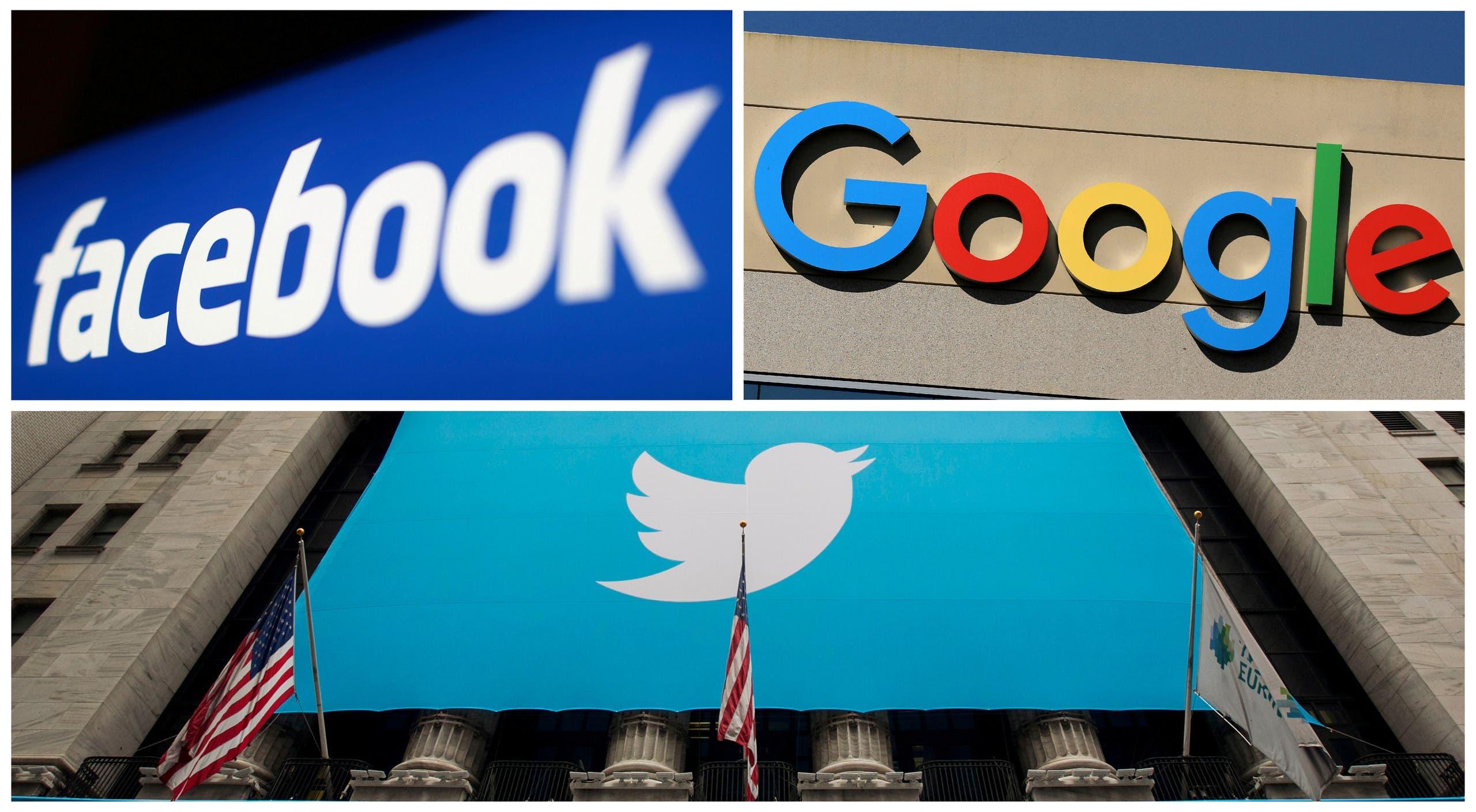فيسبوك وتويتر وغوغل (رويترز)