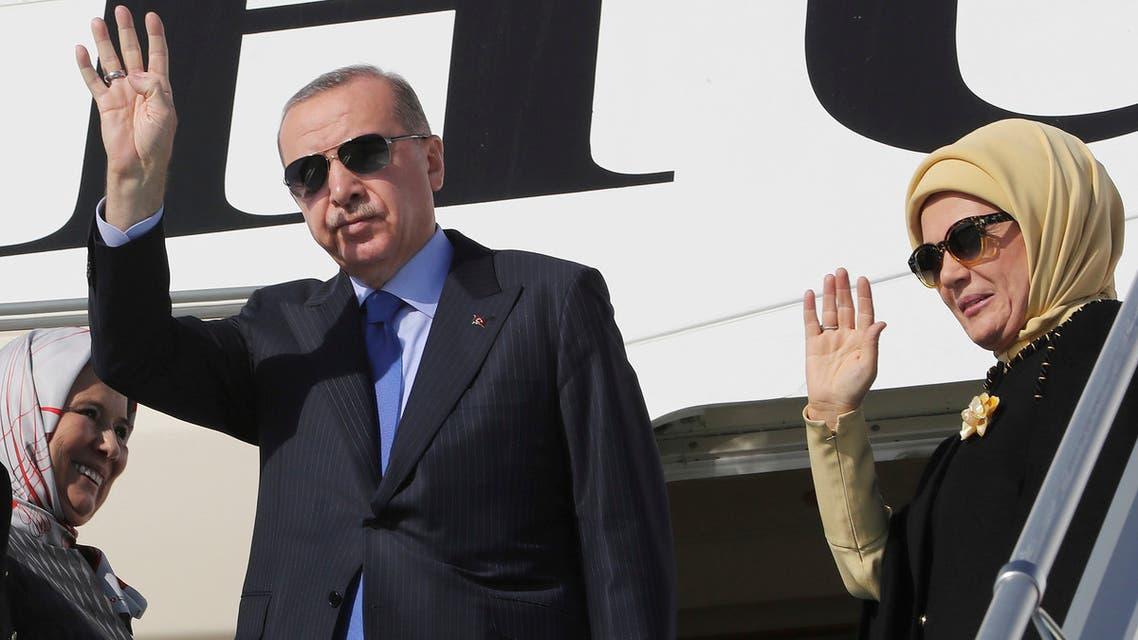 أردوغان وزوجته (أرشيفية- أسوشييتد برس)
