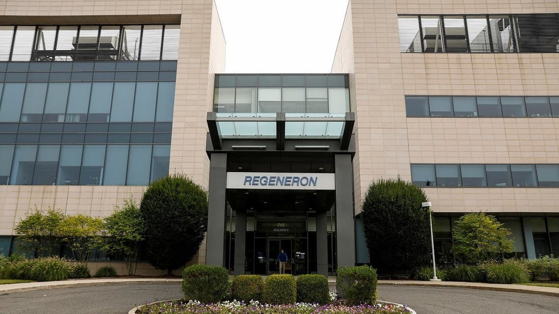 The Regeneron Pharmaceuticals company logo is seen on a building at the company's Westchester campus in New York, Sept. 17, 2020. (Reuters)