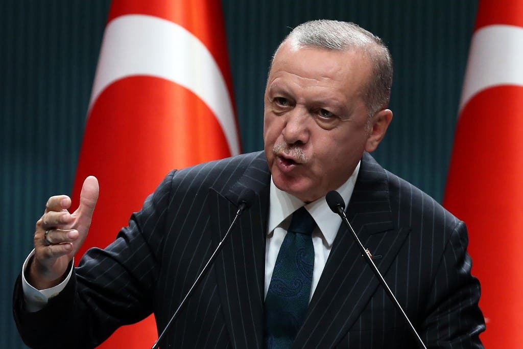 Turkish President Recep Tayyip Erdogan holds a press conference following the weekly cabinet meeting at the Presidential Complex in Ankara on August 24, 2020. (AFP)