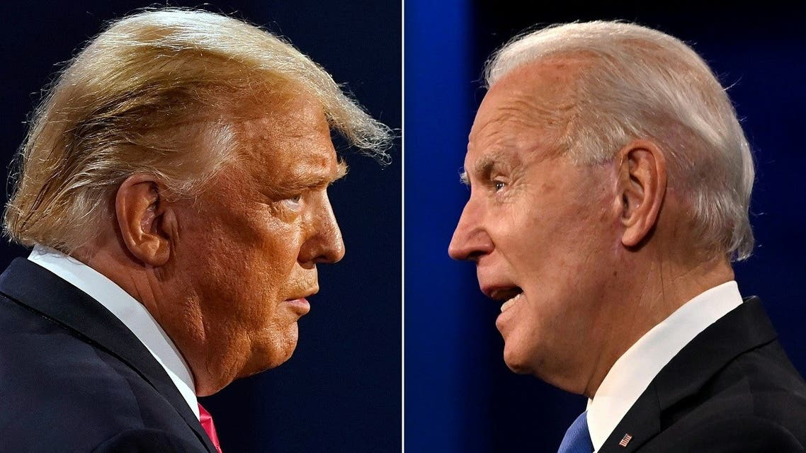This combination of file pictures created on October 22, 2020 shows US President Donald Trump (L) and former US Vice President Joe Biden during the final presidential debate. (AFP)