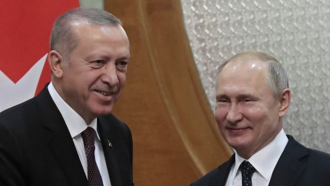 Russian President Vladimir Putin meets with his Turkish counterpart Recep Tayyip Erdogan in the Black Sea resort of Sochi on February 14, 2019. (AFP)