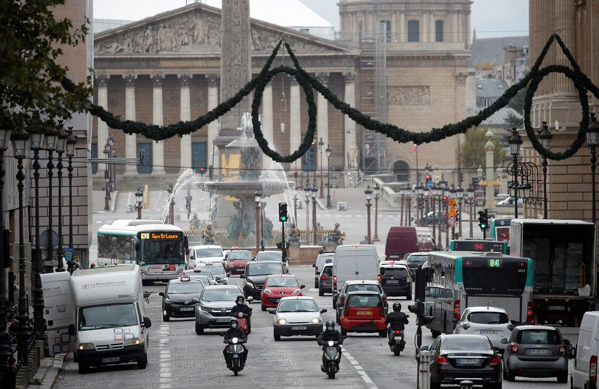 Some traffic is seen from place de la Concorde in Paris on the first day of the second national lockdown as part of the COVID-19 measures to fight a second wave of the coronavirus in France. (Reuters)