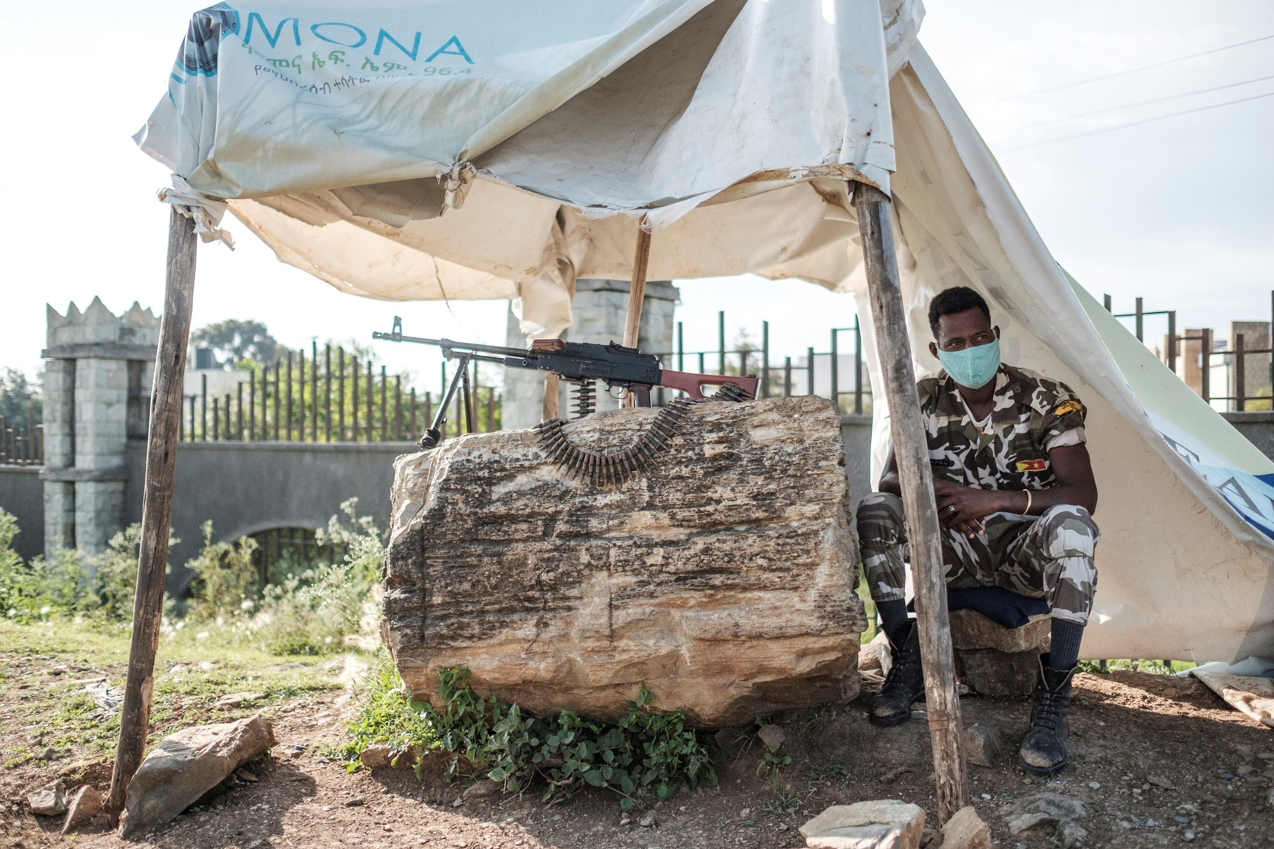 A member of Tigray police is pictured at a checkpoint in the outskirts of Mekele on the day of Tigray's regional elections, on September 9, 2020. (AFP)