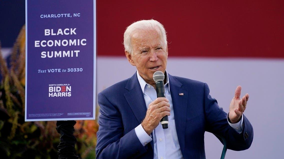 Democratic presidential candidate Joe Biden speaks during a Biden for President Black economic summit in Charlotte, NC, Sept. 23, 2020. (AP)