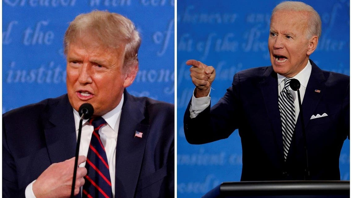 US President Donald Trump and Democratic presidential nominee Joe Biden speaking during the first 2020 presidential campaign debate, Sept. 29, 2020. (Reuters)