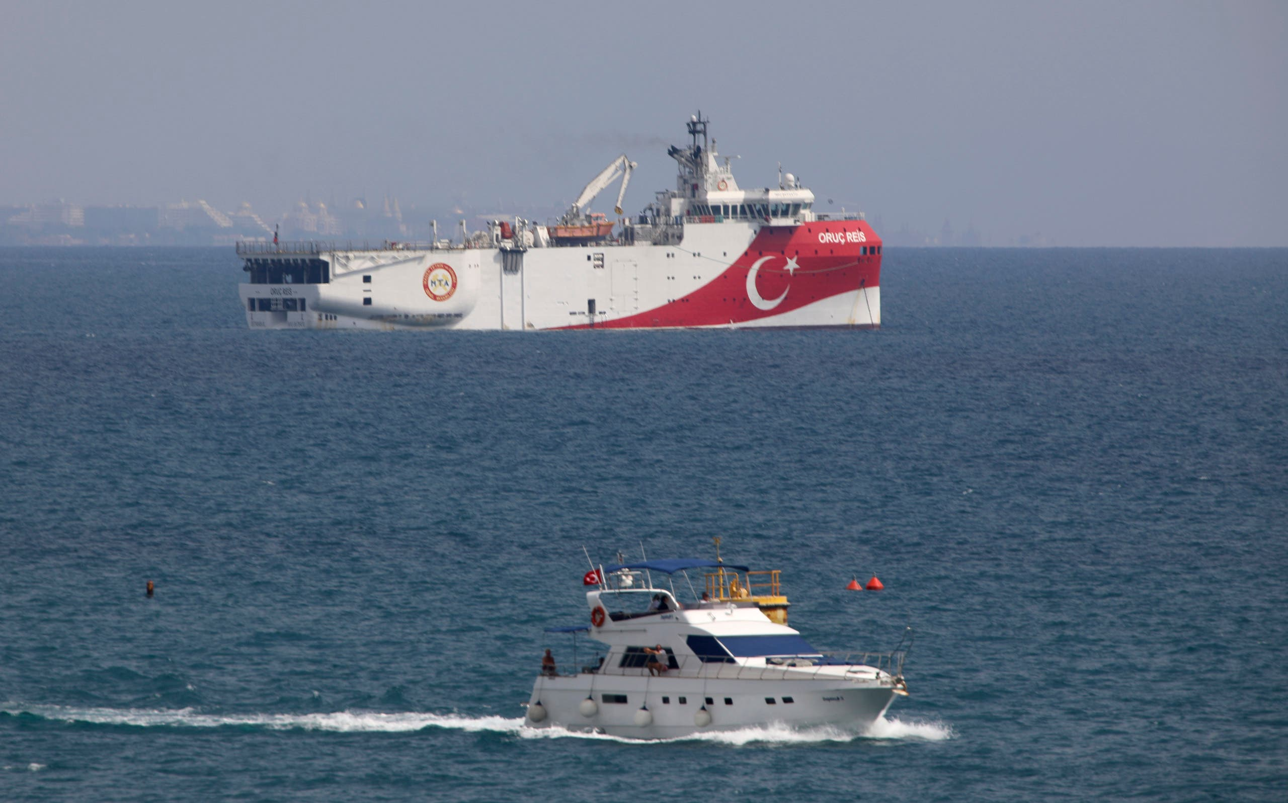 A view of Turkey's research vessel, Oruc Reis anchored off the coast of Antalya on the Mediterranean on Sept. 27, 2020. (AP)