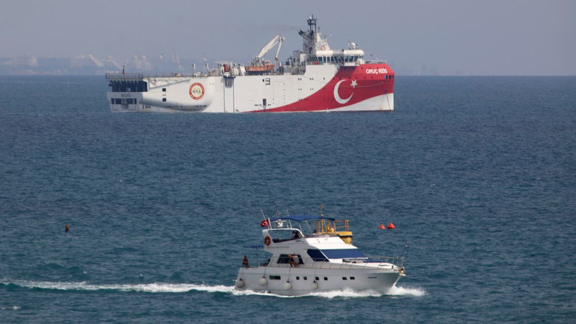 A view of Turkey's research vessel, Oruc Reis anchored off the coast of Antalya on the Mediterranean, Turkey, Sunday, Sept. 27, 2020. Turkey's President Recep Tayyip Erdogan said last week that Oruc Reis was withdrawn from a disputed area of the eastern Mediterranean that has been at the heart of a summer stand-off between Turkey and Greece over energy rights. (AP Photo/Burhan Ozbilici)