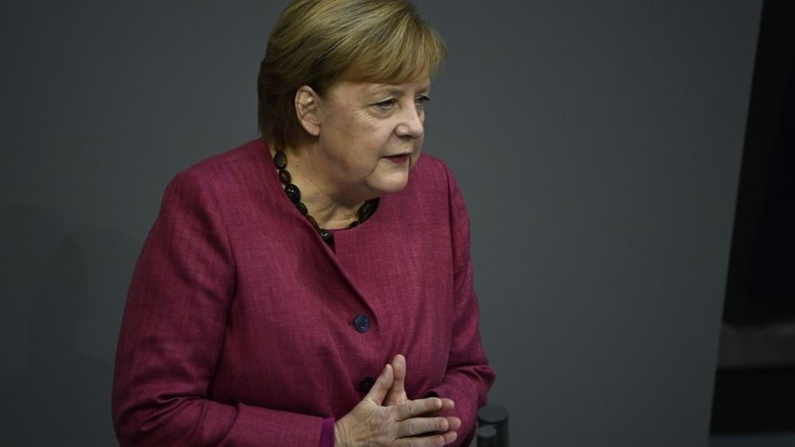 German Chancellor Angela Merkel speaks at the Bundestag (lower house of parliament) on October 29, 2020 in Berlin. (AFP)