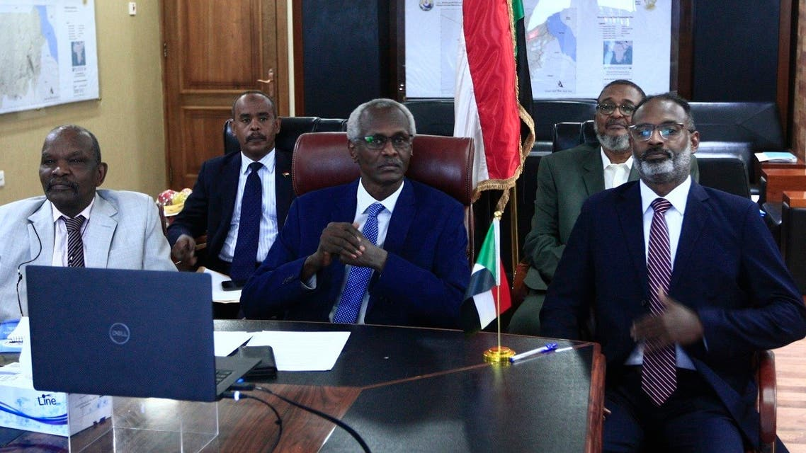 Sudan's Minister of Irrigation and Water Resources Yasser Abbas (C) participates in a videoconference with his Egyptian and Ethiopian counterparts (unseen) in Khartoum, Sudan, November 1, 2020. (Ebrahim Hamid/AFP)