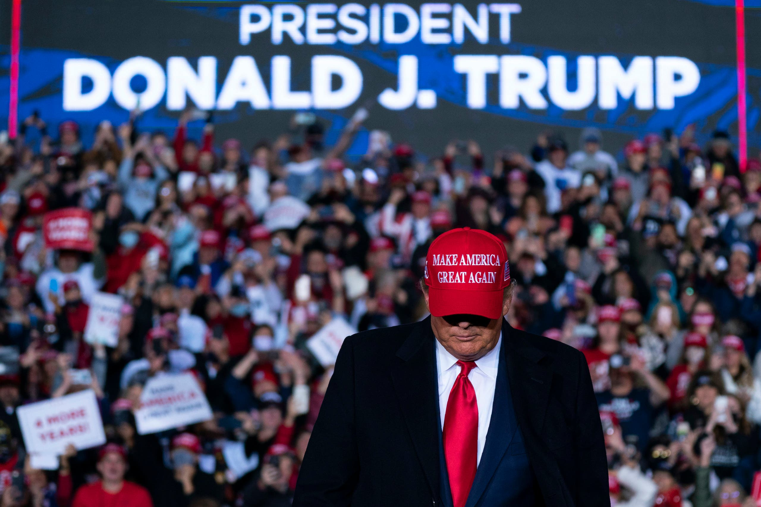 President Donald Trump arriving for a campaign rally at Richard B. Russell Airport, Sunday, Nov. 1, 2020, in Rome, Ga. (AP)
